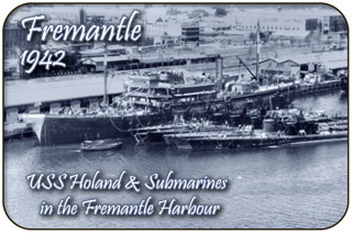 Fremantle 1942: USS Holland and Submarines in the Fremantle Harbour circa 1942